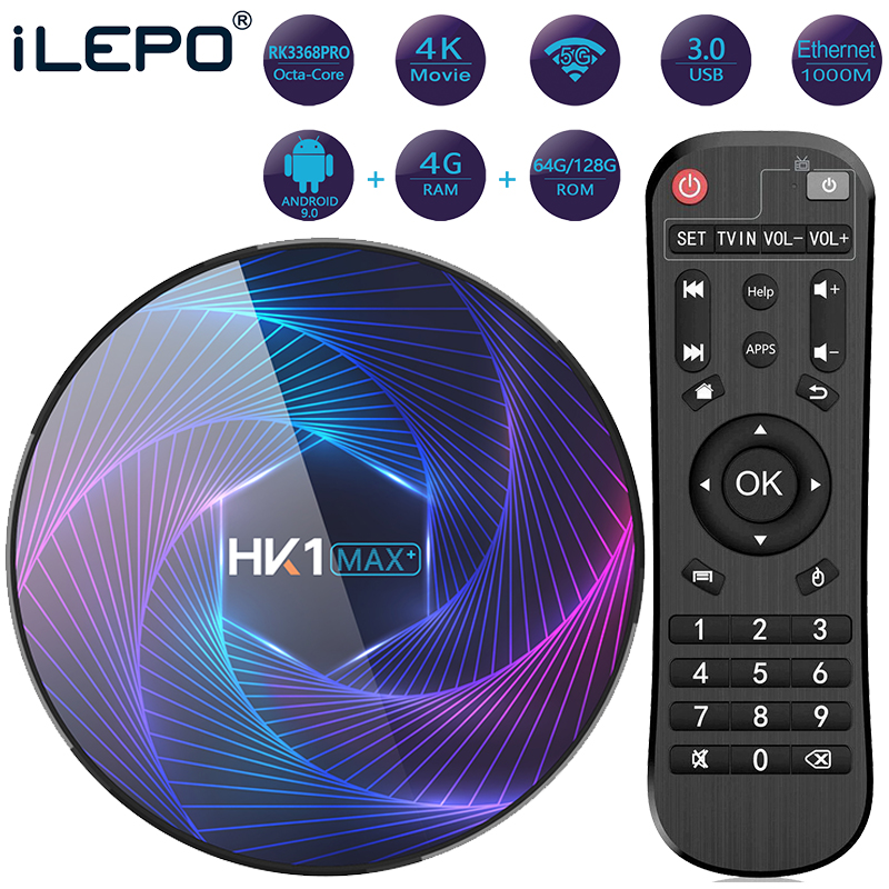 HK1 MAX Plus Smart TV Box Android 9.0 4GB 128GB 64GB 32GB Octa Core RK3368PRO 1080P H.265 4K Google Player Netflix Set Top Box(China)