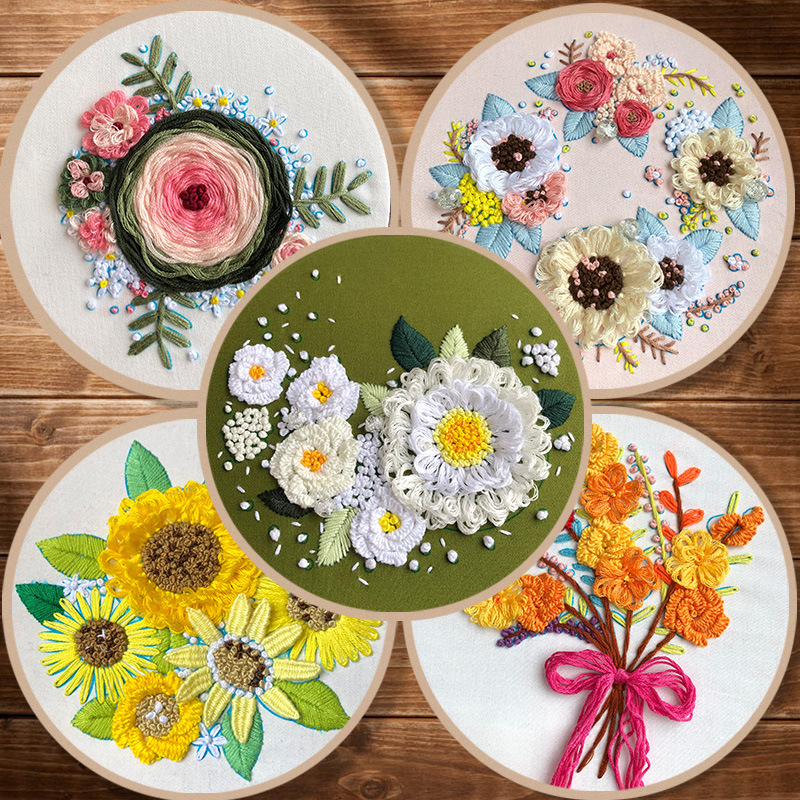 3D Flower Pattern Embroidery Kit with Hoop for Beginner Needlework Kits Cross Stitch Sewing Art Craft Painting Home Decoration