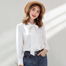 Wasteheart Autumn Women Tops Casual White T-shirts Solid Shirt Plus Size Blouse Cotton Sexy Bow Lantern Sleeve Chiffon