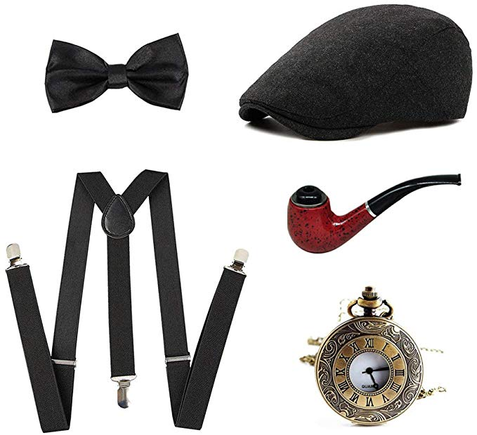 15 1920s Mens Great Gatsby Gangster Costume Accessories Set - Fedora Newsboy Panama Hats Suspenders Pocket Watch