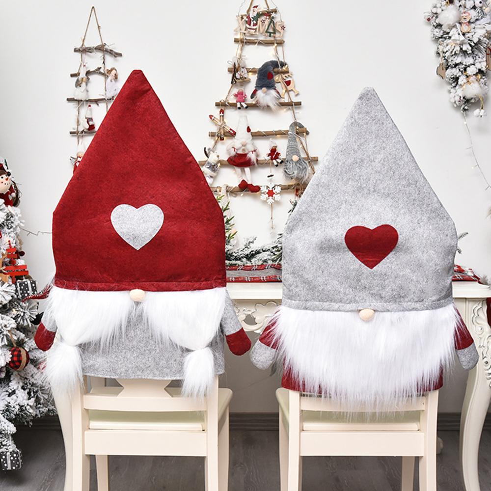 Santa Claus Hut Stuhl Abdeckung 2020 Frohe Weihnachten Dekorationen für Zu Hause Weihnachten Ornamente Neue Jahr 2021 Navidad Noel Weihnachten Geschenk