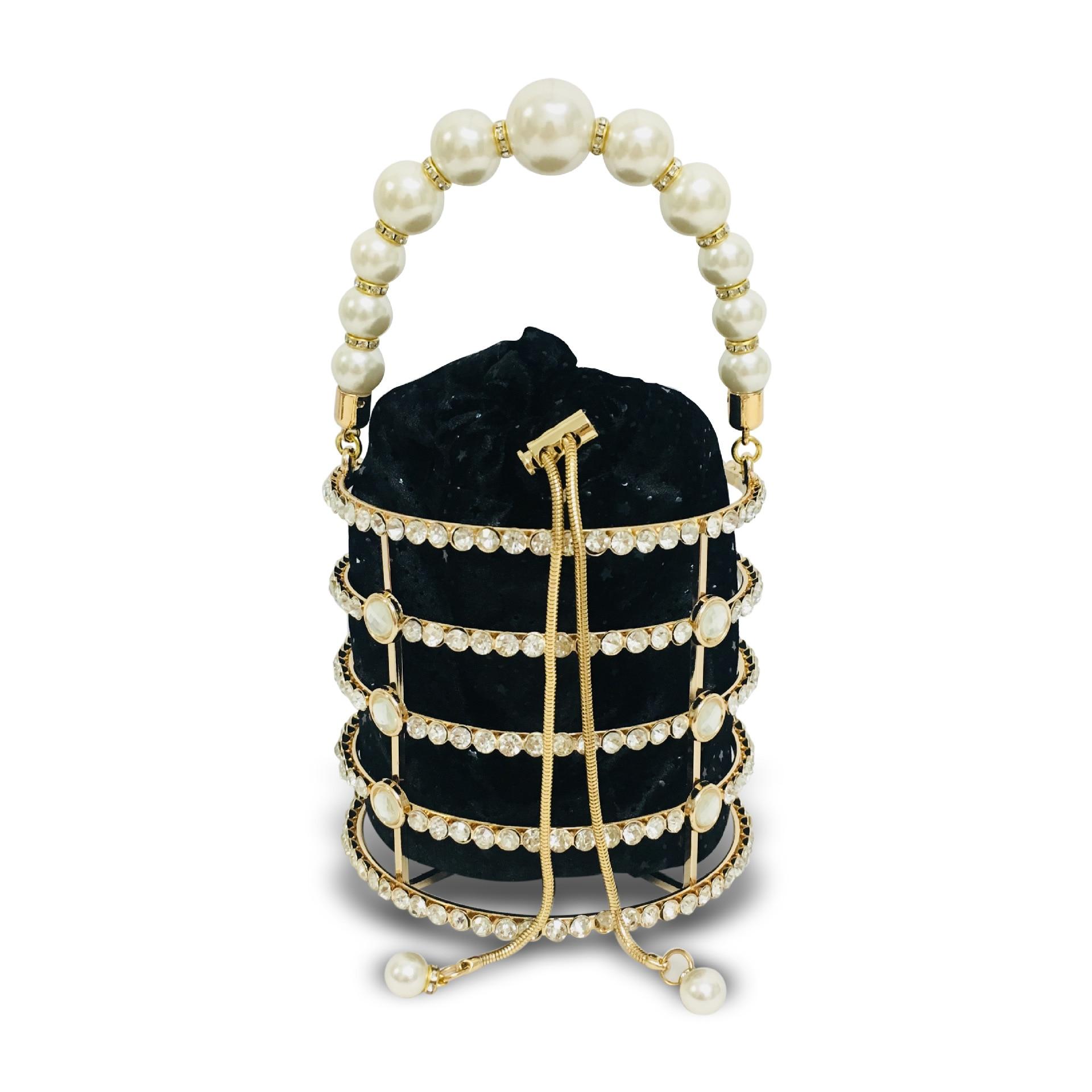 Sac seau mode creux perle sac de soirée 2019 concepteur de luxe coréen à la main en alliage métallique pochette dames sacs à bandoulière