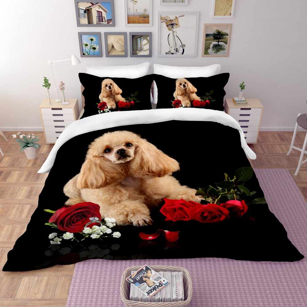 Pet Bedding Set Kid Microfiber Duvet Cover Set Cartoon Dogs Peacock Bed Linen Set Pillowcase Twin Full Queen King Bedclothes