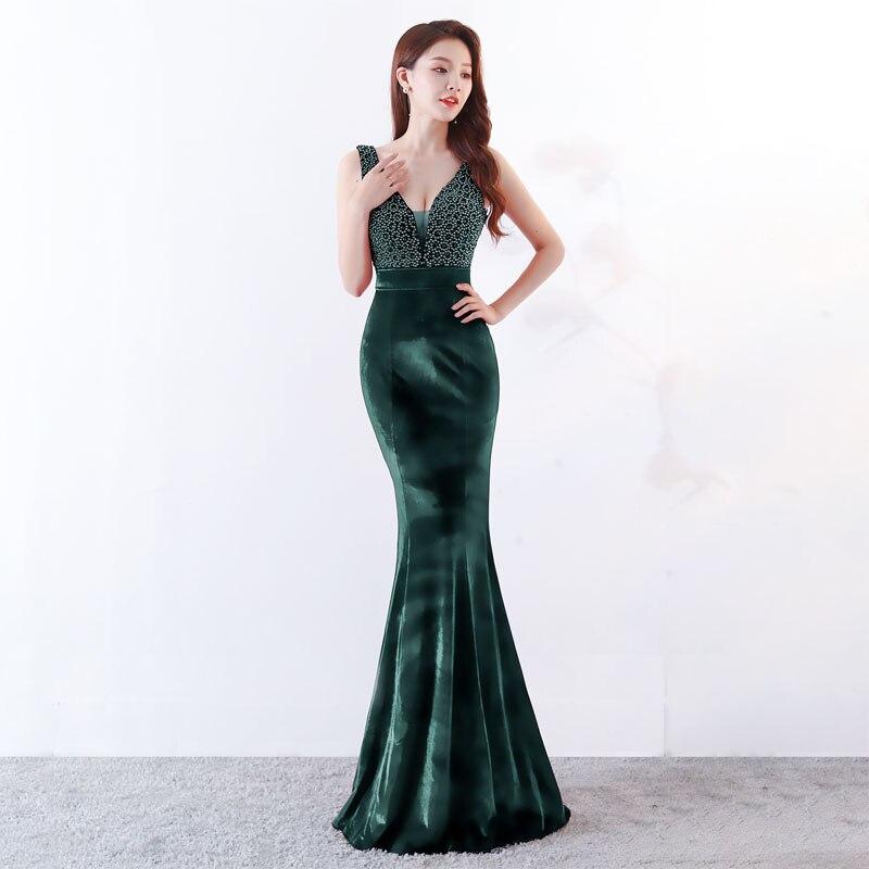 Diepe V hals Mermaid Chinese Avondjurk Lange Zwarte Sexy Oosterse Stijl Party Jurken Meisje Fluwelen Cheongsam Gown Jaarvergadering - 4