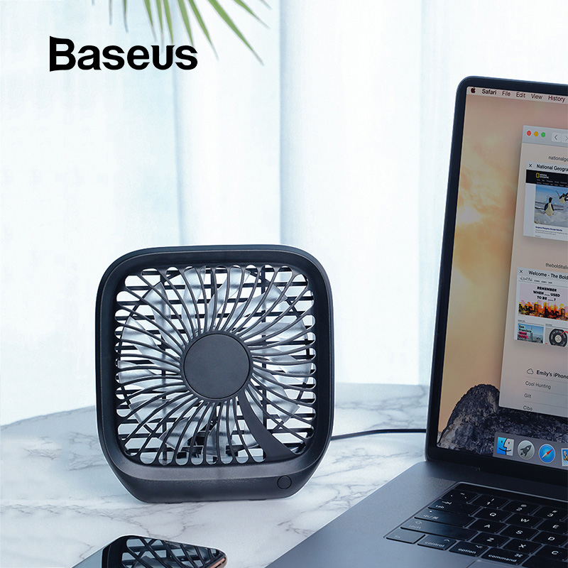 Baseus Foldable Mini USB Fans Car Back Seat Cooler Fan Portable Air Cooling Fan For Home Travel Car Headrest Desktop Office Fans