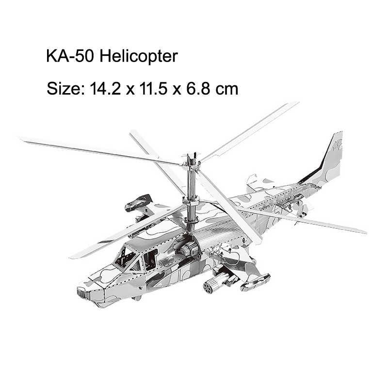 3D металлические головоломки AH-64 Apache KA-50 Вертолет НЛО SU-34 истребитель RAH-66 модель наборы собрать пазл, Подарочные игрушки для детей