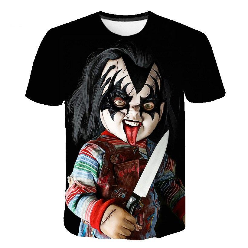 Футболка с принтом Чаки, демонов, смерти, зла, хип-хоп, сатанизма, мрачного Жнеца, супернатура, футболка для мальчиков и девочек, американский...
