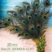 10Pcs Natural Real Peacock Feathers 25-30CM/10-12inch Feathers for Crafts Wedding Feathers for Jewelry Making Decoration Plumas(China)
