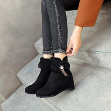 Women's Wedges Boots Suede Plus Size Round Toe Winter Boots Ankle Bootie Warm Shoes woman Warmer Hiking Snow Boots botas mujer(China)