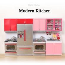 Детская имитация кухни приготовления Миниатюрная модель ролевые игры игрушки современная кухня со световым звуком для детей развивающие игрушки