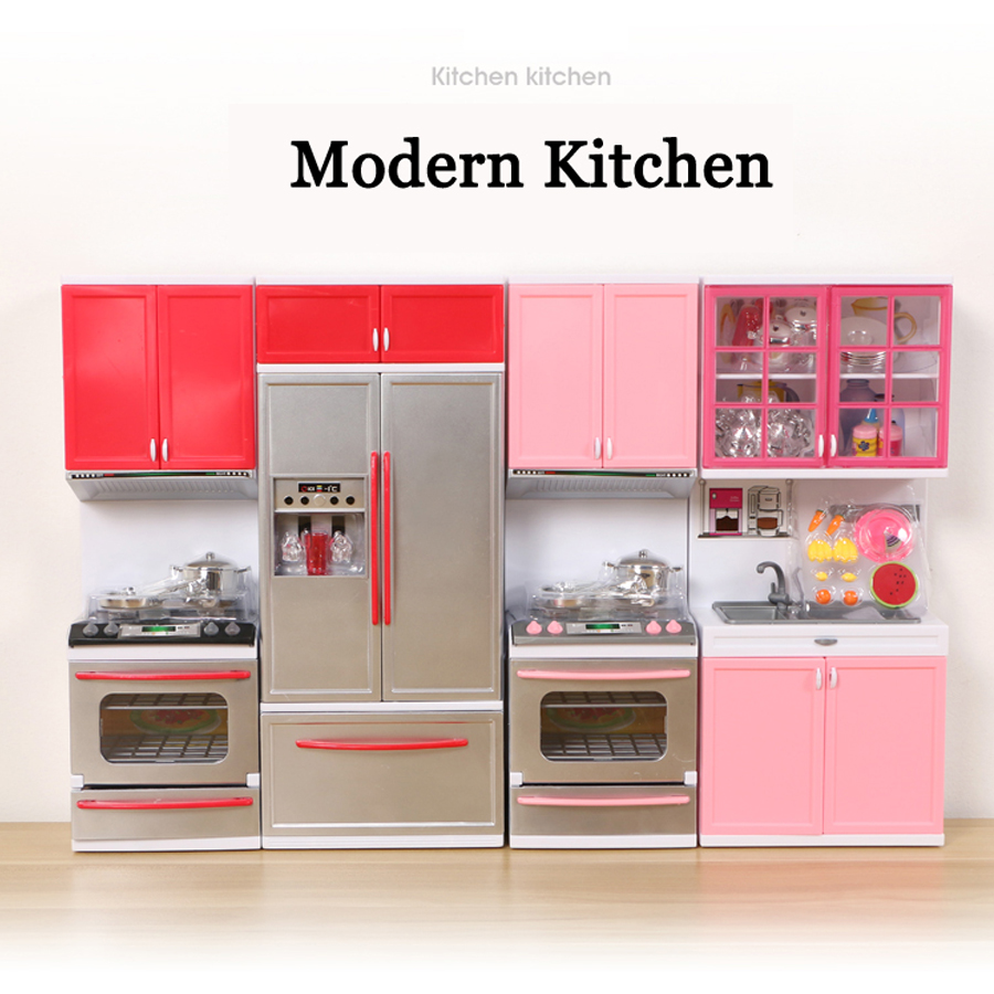 Children Simulation Kitchen Cooking Miniature Model pretend play Toys Modern Kitchen with light sound For Kids Educational toys