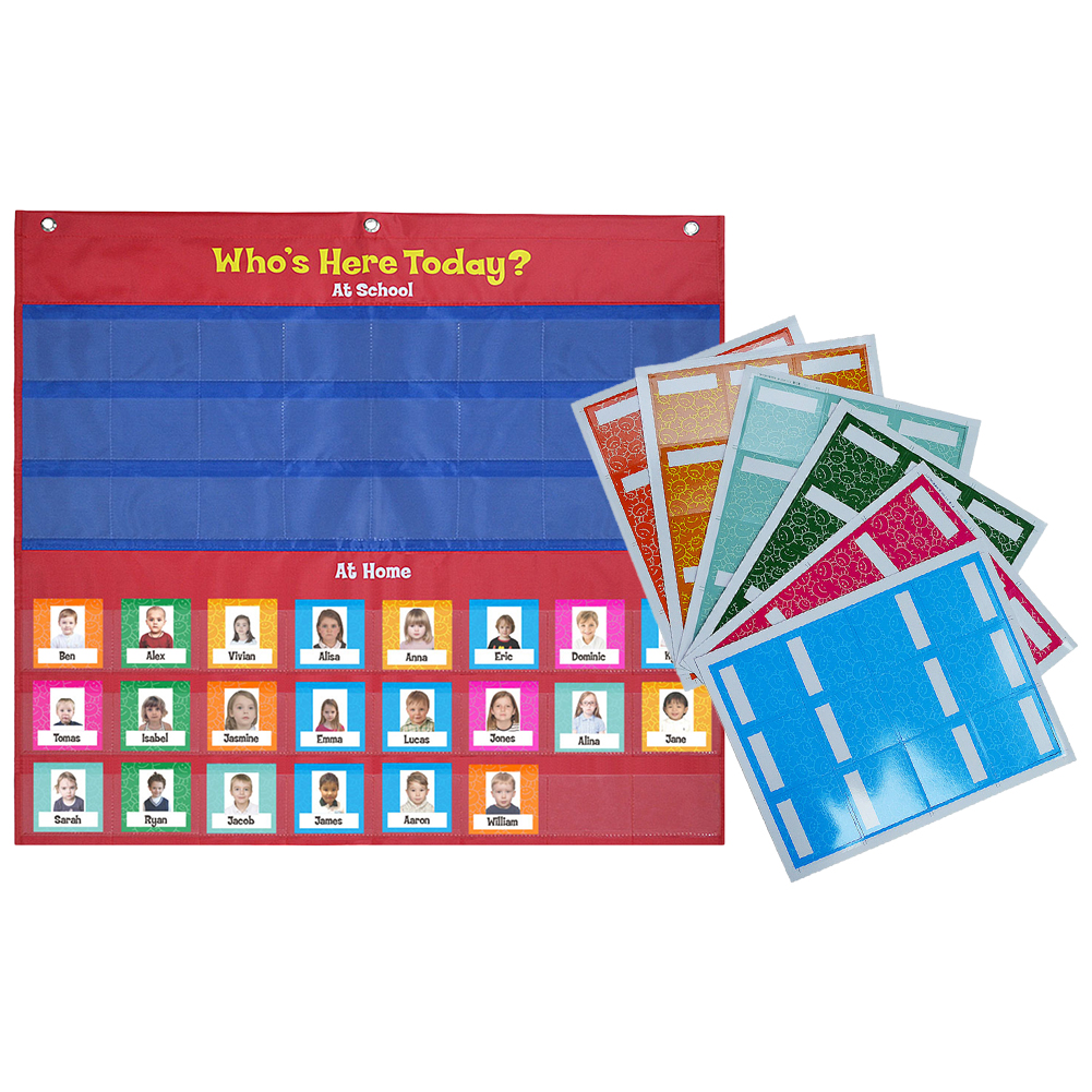 Attendance Pocket Chart Classroom Management Pocket Chart For Health Record Attendance Hanging Bag, Sign-in, Morning Check