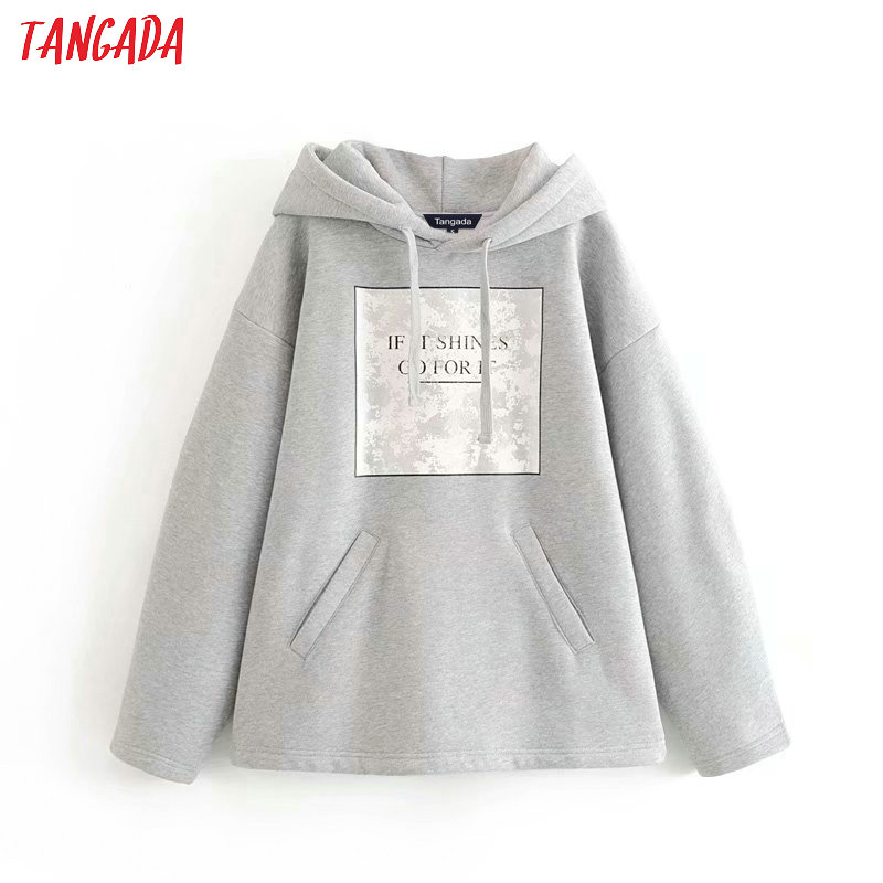 Tangada Women Letter Print Fleece Hoodie Sweatshirts Fashion Oversize Ladies Pullovers Warm Pocket Hooded Jacket 6P86