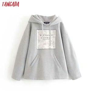 Tangada women letter print fleece hoodie sweatshirts fashion oversize ladies pullovers warm pocket hooded jacket 6P86