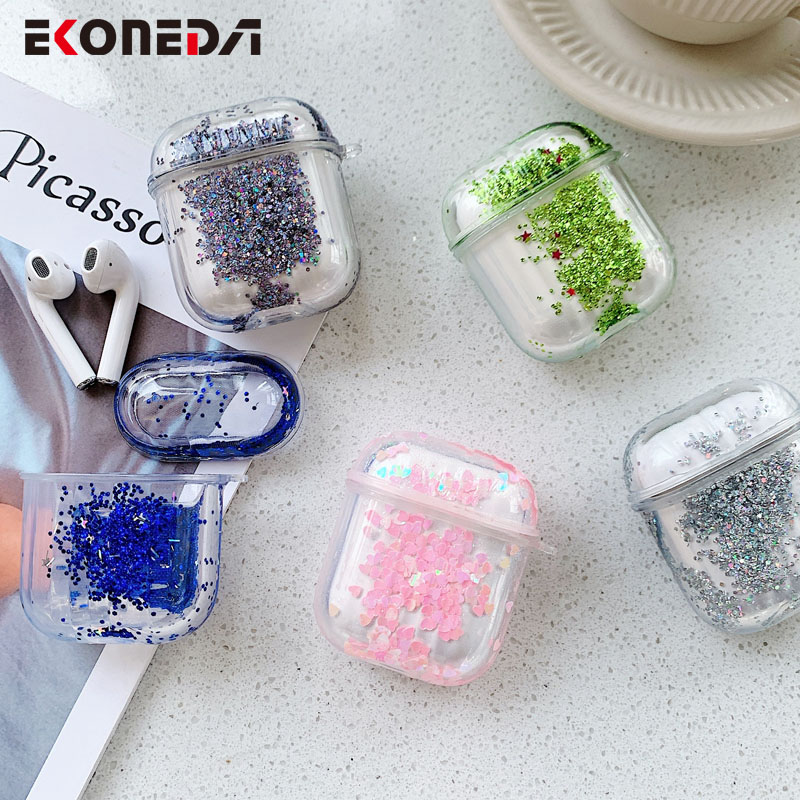 EKONEDA Luxury Liquid Glitter Case For Airpods Case Silicone Soft Protective Clear Cover For Airpod 2 Earphone Case