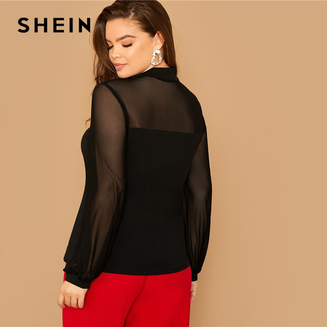 SHEIN Plus Size Black Tie Neck Mesh Sleeve Top Blouse Women Autumn Stand Collar Office Lady Womens Elegant Tops and Blouses 1