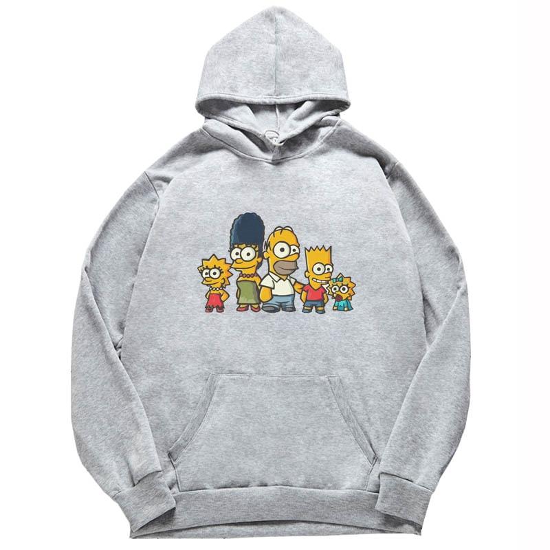 2020 Kawaii Simpsons Man Unisex Black Pullover Cute Printed Mens Sport Fashion Hoodie Funny hooded Men
