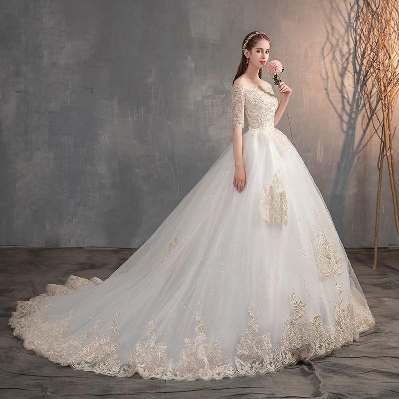 2019 New Wedding Dress Off The Shoulder Half Sleeve Wedding Gown Lace Applique Plus Size Simple Wedding Dress Robe De Mariee X