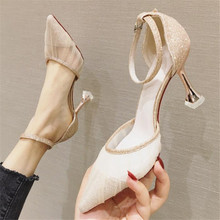 Sandals women high heels summer new fine heel pointed sexy fashion red bottom luxury shoes