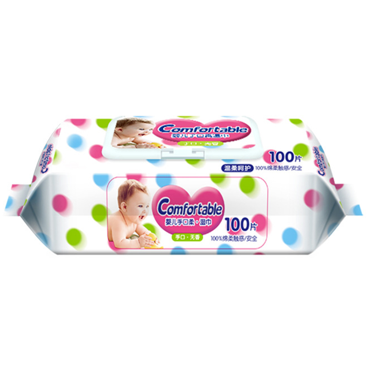 100 Wipes/Pack RO Pure Water Baby Wipes Spunlace Alcohol Free Wet Wipes Unscented Hand Mouth Wipes No Harmful Additives