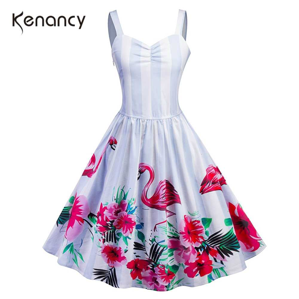 Kenancy Flamingo Cetak Pin Up Musim Panas Wanita Gaun Retro 60 S Vintage Gaun Pesta Vestidos Jubah Tunik Rockabilly Ayun jubah