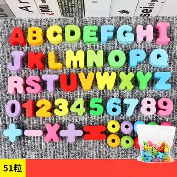 цена Baby Montessori Educational Wooden Math Toys Letter Digital Block Alphabet Stringing Threading Beads Game 3D Puzzle Toy for Kids онлайн в 2017 году