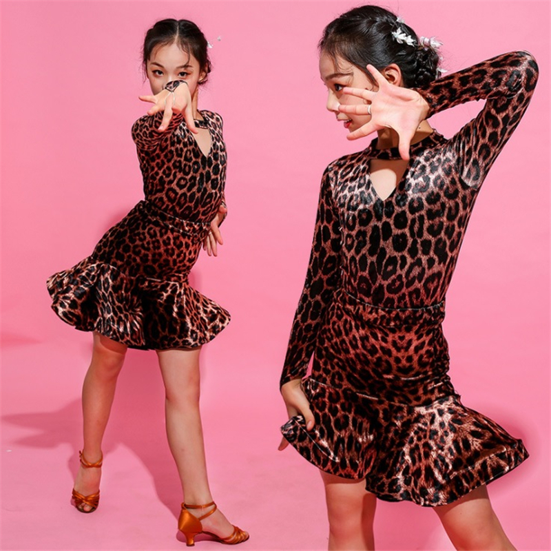 Leopard Print Latin Dance Dress Set For Kids Gir Modern Flamenco Social Dance Practice Performance Spring Summer Free Shipping