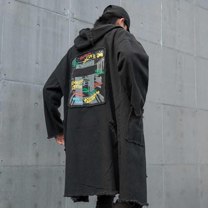 男性ヴィンテージゆるいカジュアルなロングデニムトレンチコートストリートヒップホップパンクゴシックフード付きウインドブレーカージャケット男性アウターオーバーコート