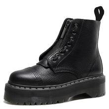 Size34-41 Chunky buty motocyklowe dla kobiet zima 2021 moda okrągłe Toe sznurowane buty wojskowe damskie buty tanie tanio Warm like home CN (pochodzenie) Prawdziwej skóry Skóra bydlęca ANKLE Klamra Stałe 1460 Dla dorosłych Okrągły Obcasy