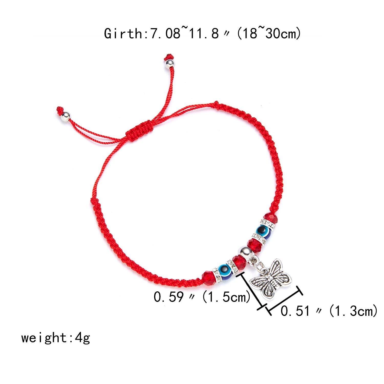 9 стилей плетеная красная нить на удачу Хамса браслет с подвесками на руку синий бисер, от сглаза браслет мода дружбы ювелирные изделия для женщин мужчин - Окраска металла: butterfly
