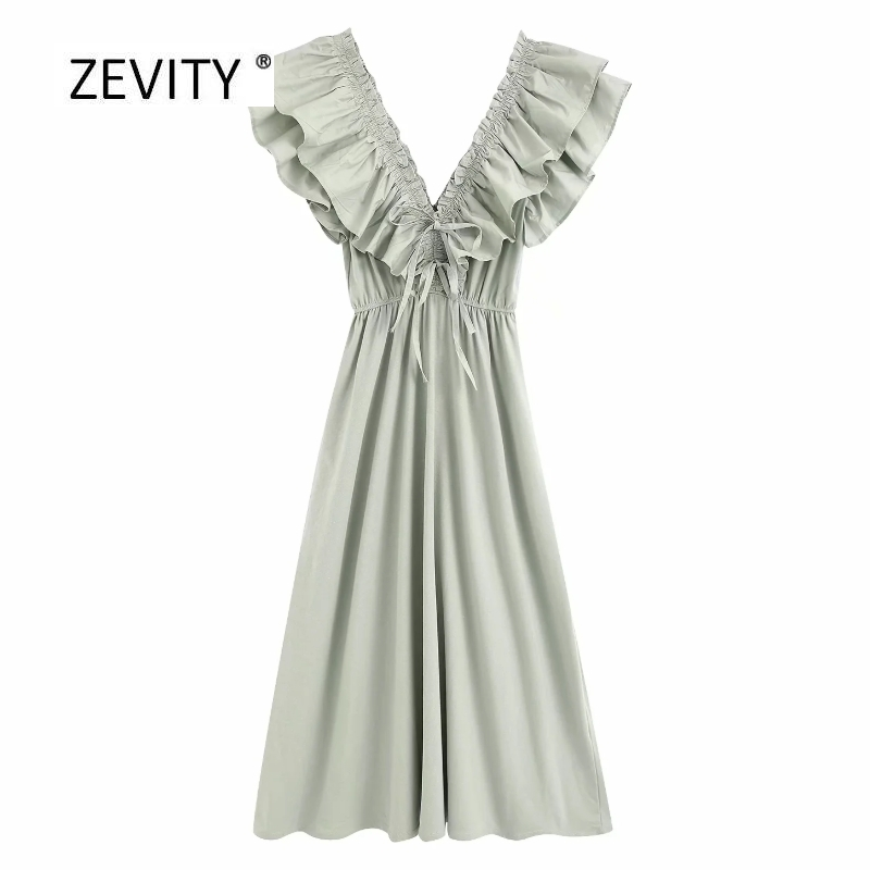 New Women Sexy Deep V Neck Cascading Ruffle Solid Bow Midi Dress Female Elastic Waist Knitted Vestido Casual Chic Dresses DS3875