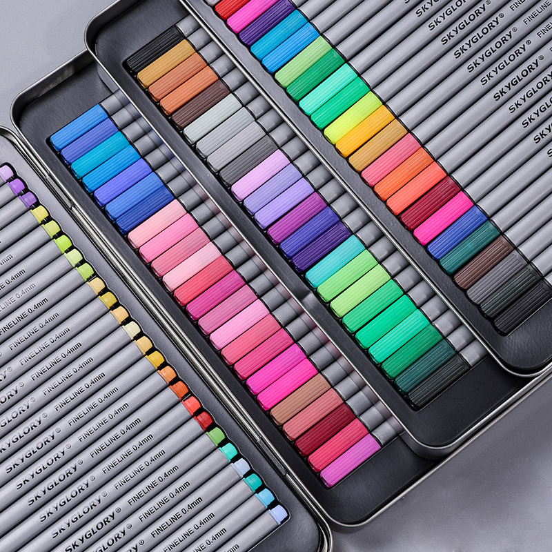 20/24/48/72 Pcs 0.4mm Micron Liner Marker Pens Fineliner Colorful Sets Based Assorted Ink For Painting Line Tin Box Packaging