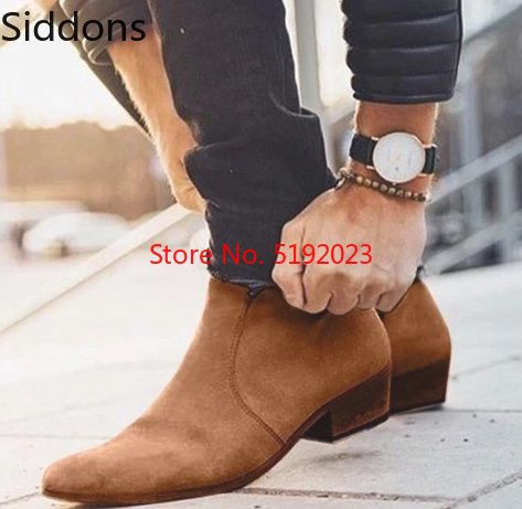 Winter Boots Men Chelsea Suede Leather Side Zipper Stockholm Boot Pointed Toe  Bota Coturnos Masculino Zapatos De Hombre  D304-1
