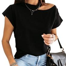 2020 Summer Women Ladies T Shirt Short Sleeve One Shoulder T