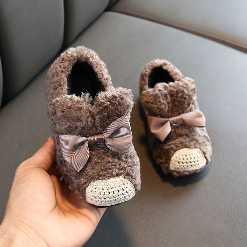 New Winter Kids Fur Shoes Children Casual Home Shoes Baby Girls Warm Flats Toddler Black Shoes Princess Loafer Sweet Shoe|Sneakers|   - title=