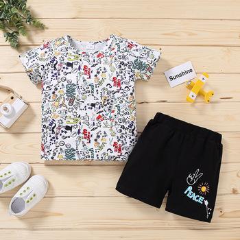 Odzież dziecięca chłopięca letnia odzież dziecięca cartoon nowa dziecięca bawełna śliczny garnitur odzież dziecięca chłopięca odzież dziecięca cyfrowa tanie i dobre opinie COTTON Poliester Linen 7-12m 13-24m 3-6y CN (pochodzenie) Unisex Moda O-neck Zestawy Pojedyncze piersi Krótki REGULAR Pasuje prawda na wymiar weź swój normalny rozmiar