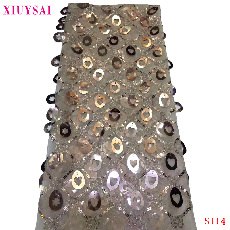 XIUYSAI Nigerian Lace Fabric 2020 French Sequins Net Lace Noble Sequins Fabrics High Quality African Tulle Sequins Lace Fabric