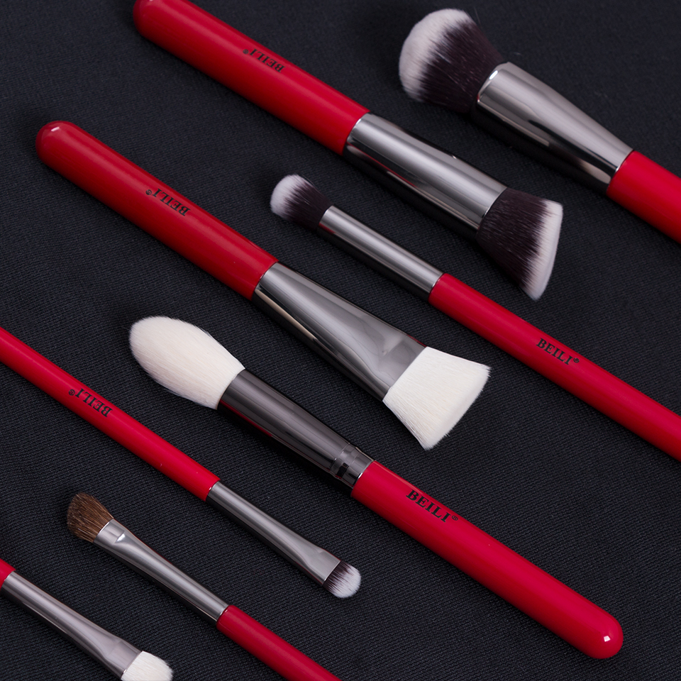 Image 3 - BEILI 15pcs Makeup Brushes Eyeshadow Powder Cosmetics Make Up Brush Set Natural Hair Eyebrow Professional Foundation Red HandleEye Shadow Applicator   -