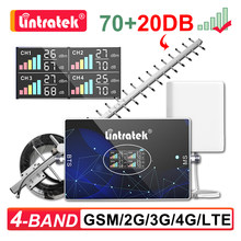 Lintratek Cellular Amplifier Four Band LTE 800 900 1800 2100 2600 MHZ GSM 2G 3G 4G Signal Repeater Booster 20dBi Yagi Antenna