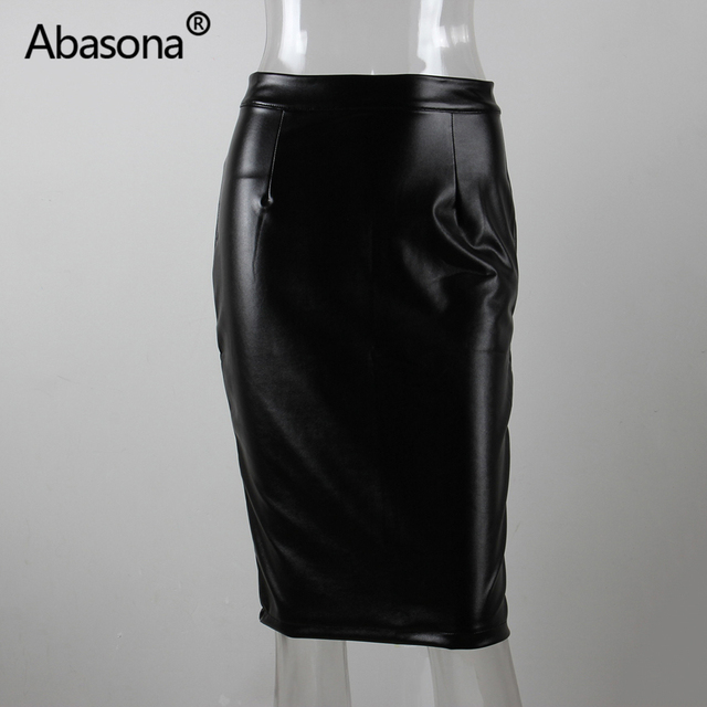 Abasona Velvet High Waist Long Pu Faux Leather Pencil Skirt Zip Split Knee Length Sexy Bodycon Midi Skirts Casual Spring Summer 8