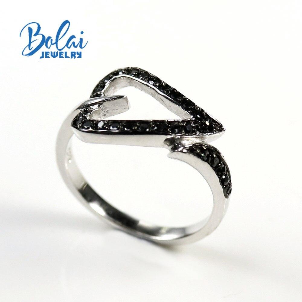 NATURAL BLACK SPINEL Ring-925 sterling silver ring