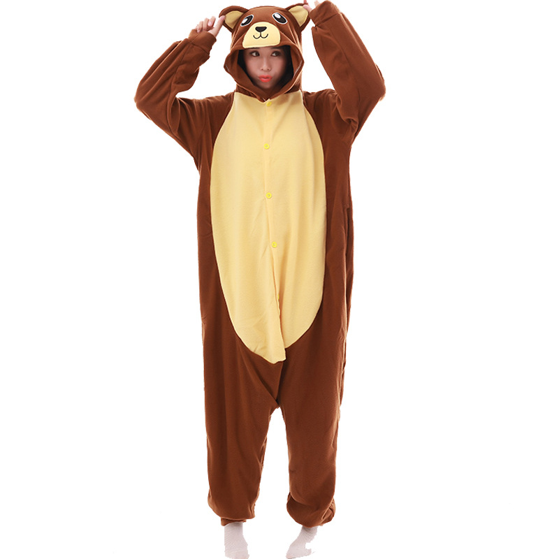 Winter Brown Bear Animal Cartoon Onesie Pajamas Long-sleeved Fleece Couple Pajamas For Men Women Christmas Pyjamas Sleepwear
