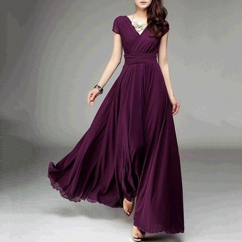 Women Fashion Bohemian Maxi Long Dress Evening Party Solid Dress V-neck Sleeveless