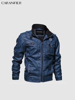 CARANFIER Mens Leather Jackets Stand Collar Zipper  5