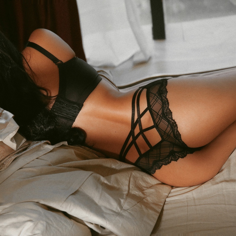 SP&CITY European Cross Bandage Sexy Panties For Women Hollow Out Briefs Transparent Underwear Bow Lace Edge Female Lingerie
