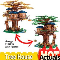 3117pcs creative toy Tree House Playmobil legoinglys 21318 DIY minecrafted Figures biggest idea model Building Blocks Toys Gifts