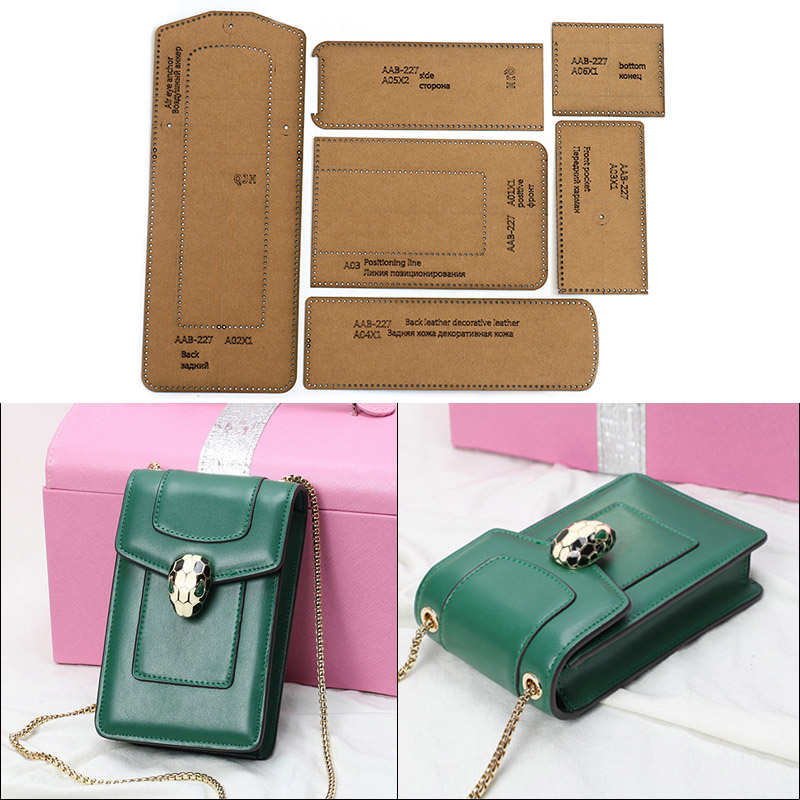 1Set Kraft Paper Leather Template Home Handwork Leathercraft Sewing Pattern Tools Accessory Shoulder Messenger Bag Pattern