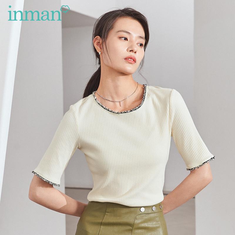 INMAN 2020 Spring New Arrival Literary Concise Style Splicing Contrast Color Micro-elastic Medium Sleeve Knitted T-shirt