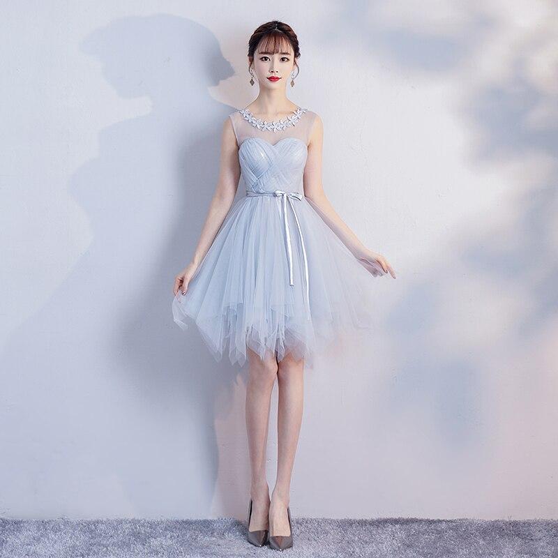 Elegant Sexy Prom Elastic Short Tulle Criss-Cross Band   dress   Blue Gray   Bridesmaid     Dress   Ball Gown Graduation Wedding Party   Dress