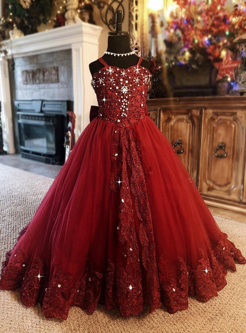 Red Flower Girl Dress Spaghetti Rhinestone Applique Wedding Party Tulle Ball Gown Sleeveless Floor Length Princess Girl Dresses
